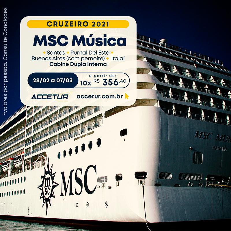 oferta cruzeiro msc música